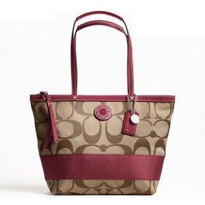 Coach Signature Stripe Tote Handbag Purse